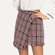 JUST ONE TIME Frayed Tweed Skirt - OutFancy
