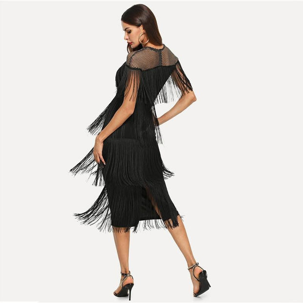 Elegant Sheer Yoke Layered Fringe Dress - OutFancy