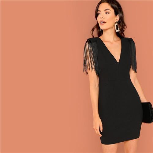 Casual Tassel Solid Dress V Neck Dress - OutFancy