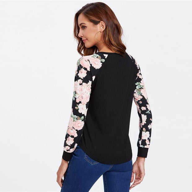 QUEEN OF LOVE Black Floral Raglan Sleeve Top - OutFancy