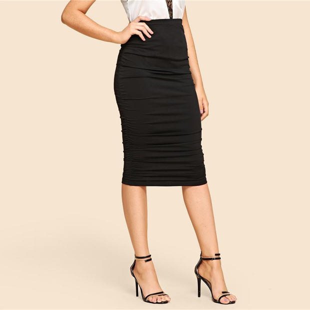 ALL THE WAY UP Elastic Waist Midi Skirt - OutFancy