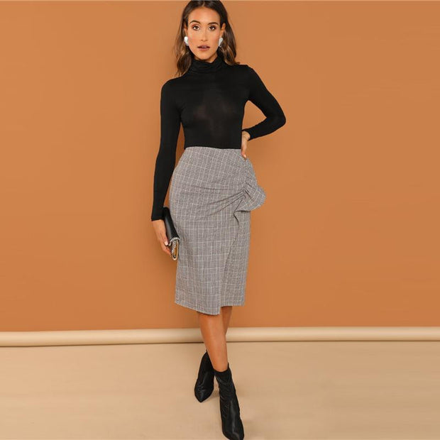 MEET ME IN THE Overlap Plaid Skirt - OutFancy