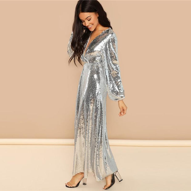 TEXTING MY EX Silver Bishop Sleeve Sequined Maxi Dress - OutFancy