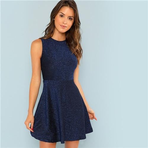 Glitter Blue Contrast Fit and Flare Dress - OutFancy