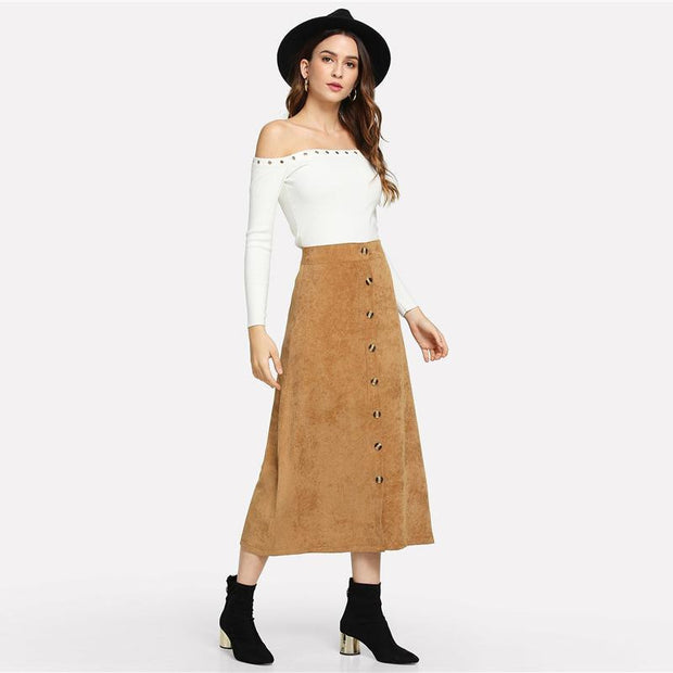 AFTER THE WEEKEND Khaki Skirt - OutFancy