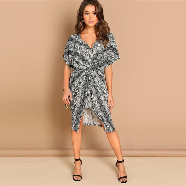 Elegant V-Neck Sheath Print Dress - OutFancy