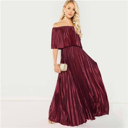 Front Off Shoulder Pleated A Line Dress - OutFancy