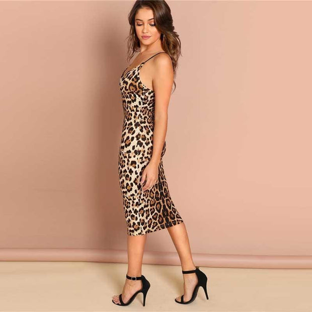 I'M ALTERED Backless Leopard Print Dress - OutFancy