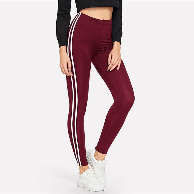 JOIN THE CLUB Burgundy Leggings - OutFancy