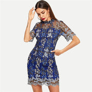Mesh Floral Stand Collar Slim Dress - OutFancy