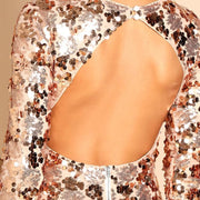 NO HESITATIONS Backless Sequin Bodycon Dress - OutFancy