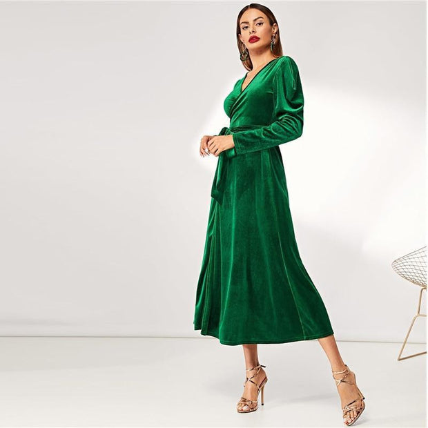 Elegant Party Solid Puff Tie Wrap Dress - OutFancy