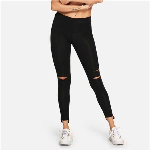 JOIN THE CLUB Ripped Leggings - OutFancy
