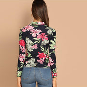 DARLING DAYS  Floral Print Mock-Neck Long Sleeve Top - OutFancy