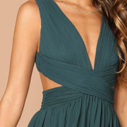 Elegant Plain Crisscross Waist Ball Dress - OutFancy