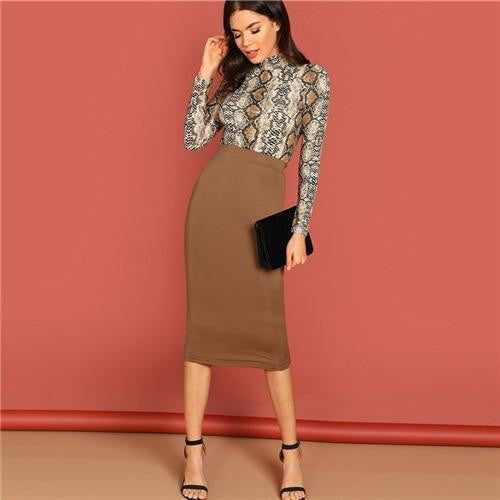 GOOD LUCK Brown Pencil Skirt - OutFancy