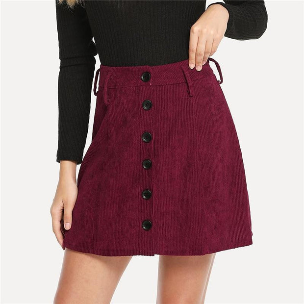 THINKIN' BOUT YOU Burgundy Skirt - outfancy