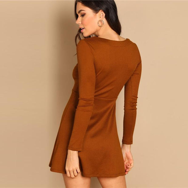 Casual Buttoned V Neck Fitted MINI Dress - OutFancy