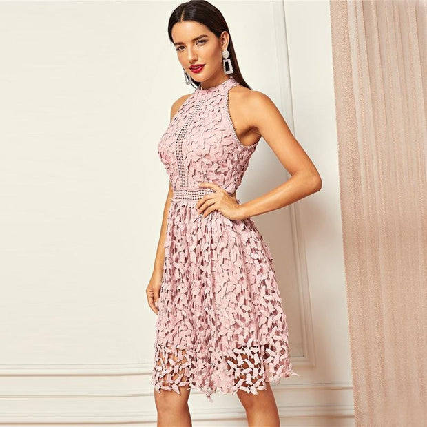 OutFancy Halter Neck Lace MIDI Dress - OutFancy