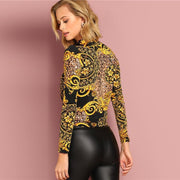 ATTENTIONS ON ME Multicolor Long Sleeve Pullover Print Top - OutFancy