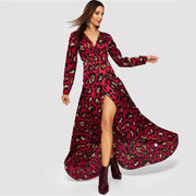 SHEER ATTRACTION Leopard Print Surplice Wrap Maxi Dress - OutFancy