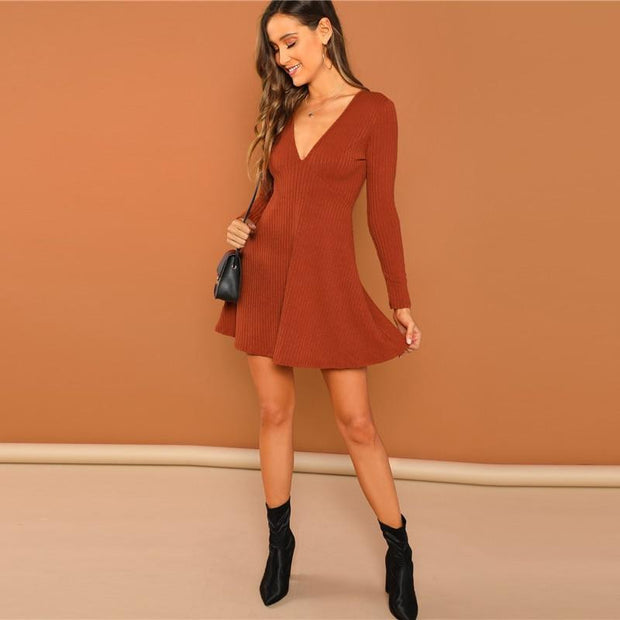 Casual Deep V Neck Fit And Flare Mini Dress - OutFancy
