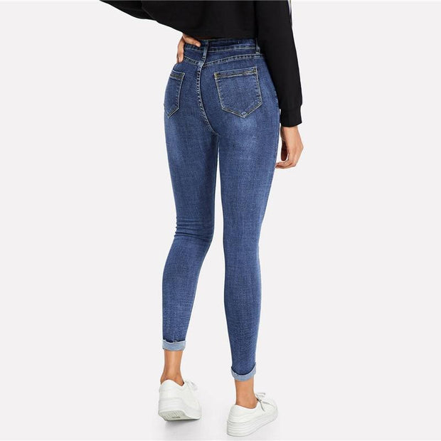 BREAK IT OFF Roll Up Ripped Jeans - OutFancy