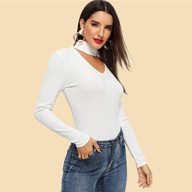 OutFancy Casual White V-Cut Choker Neck Top - OutFancy