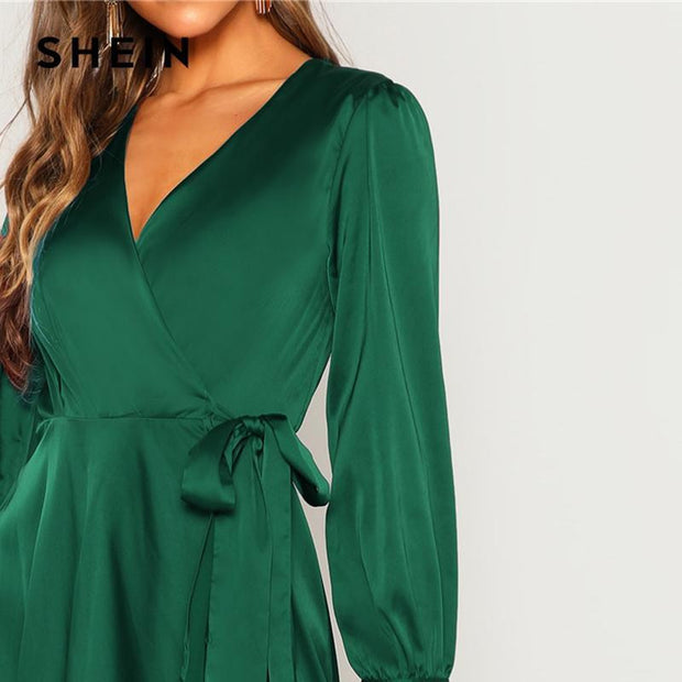 Elegant Plain V Neck Belted Dress - OutFancy