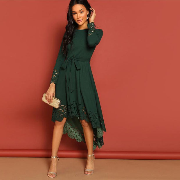 Stylish Laser Cut Belted Hem Dress - outfancy