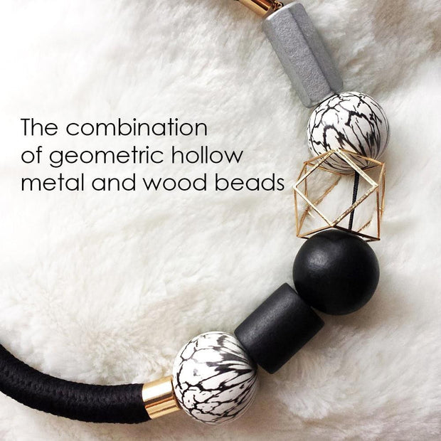 OutFancy Fashion Black & White Wood Beads Choker - OutFancy