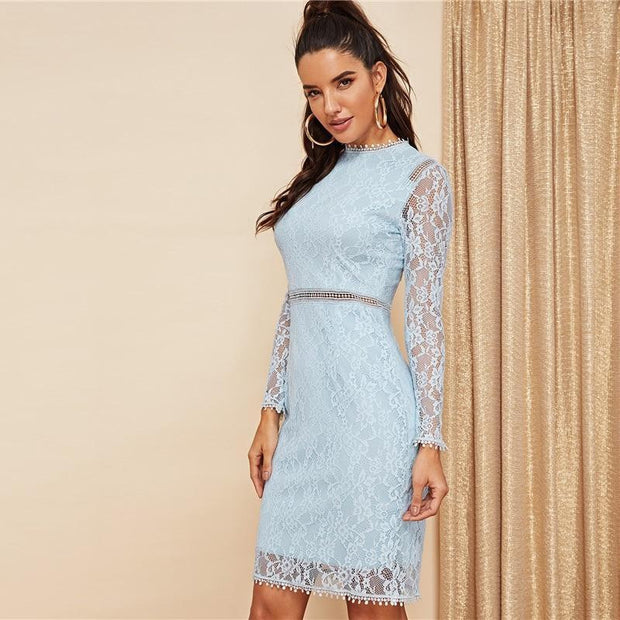 JUST FOR YOU Blue Lace High Waist Dress - OutFancy