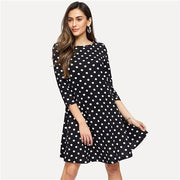 Casual Polka Dot Flowy MINI Dress - OutFancy