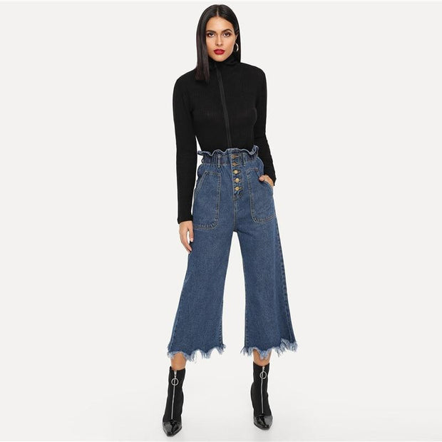 I'M NOT WITH HIM Frayed Hem Jeans - OutFancy