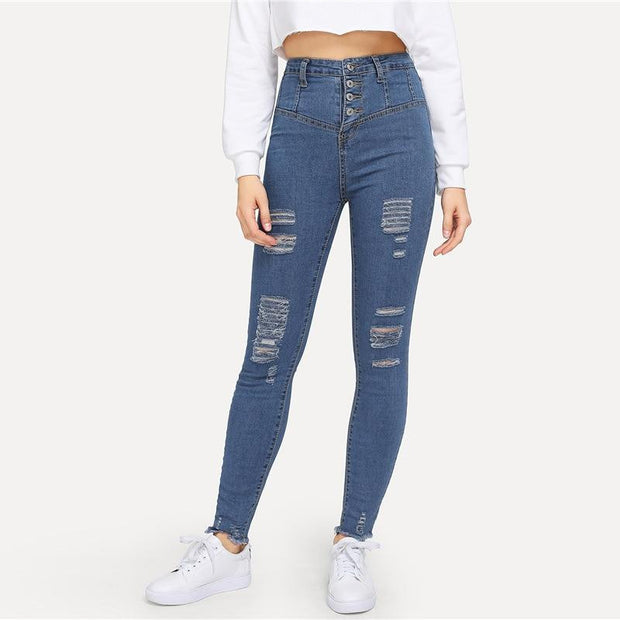 HANDLE ME WITH CARE Ripped Jeans - OutFancy