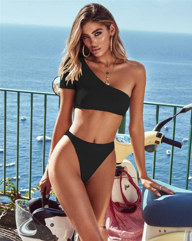 SUN GOES DOWN One Shoulder Bikini - OutFancy
