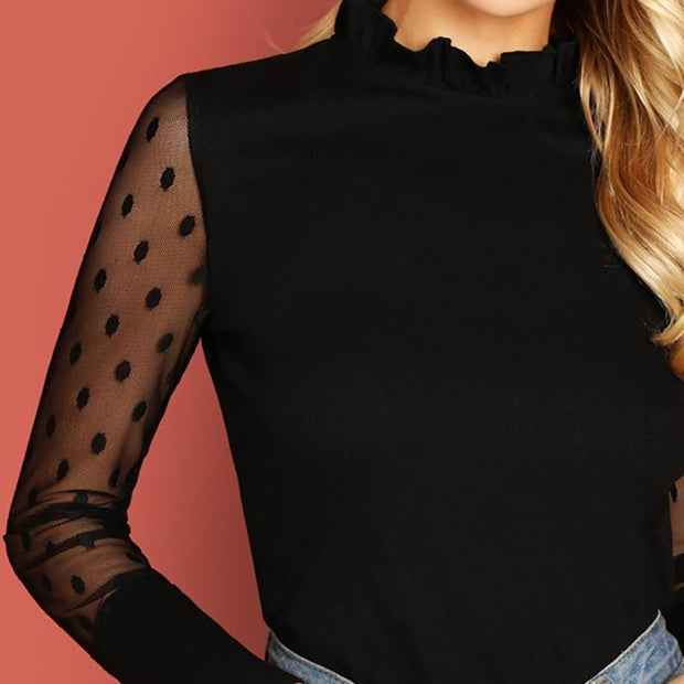 OutFancy Black Frilled Neckline Dot Mesh Long Sleeve - OutFancy