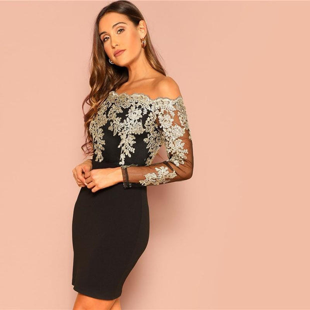 Sexy Off the Shoulder Embroidered Dress - outfancy