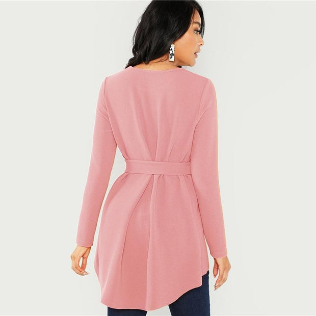 DON'T REGRET A THING Pink Belted Blouse - OutFancy