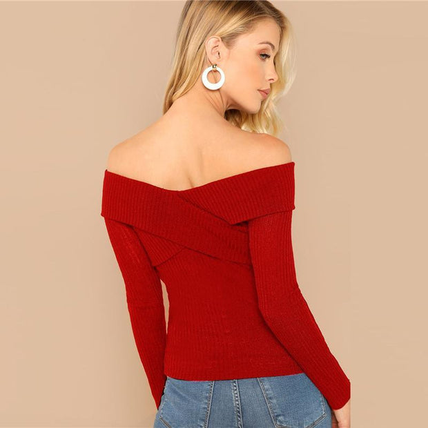 STUCK WITH ME Red Cross Wrap Rib Knit Top - outfancy