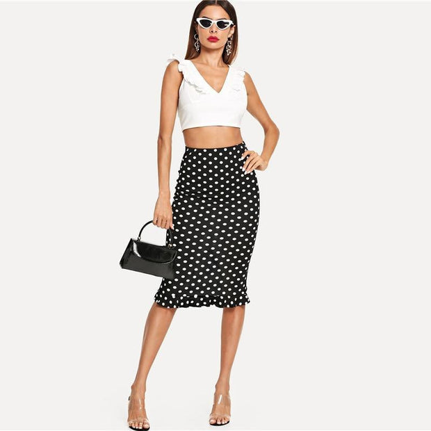 NEVER LET GO Polka Dot Skirt - OutFancy