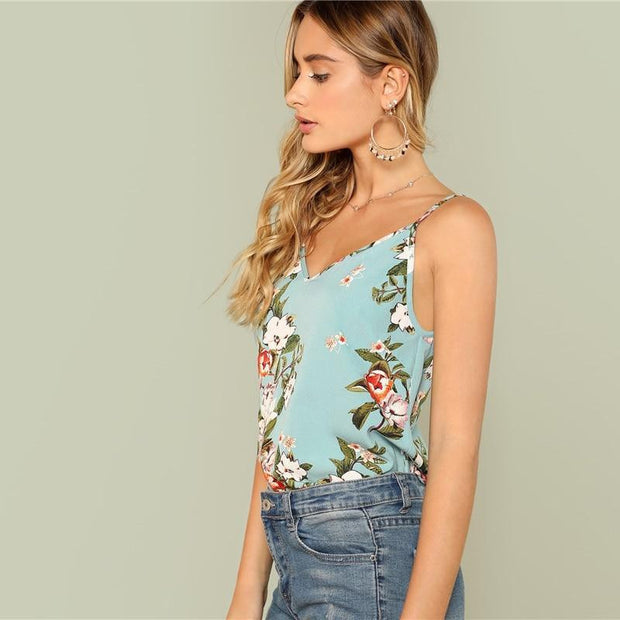 TOUCH MY BODY Green Flower Cami Top - outfancy