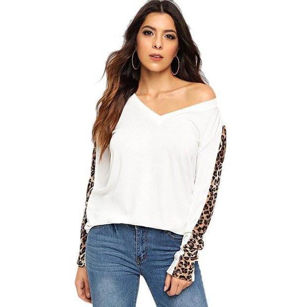 SIMPLE THOUGHTS White Leopard Sleeve Top - outfancy