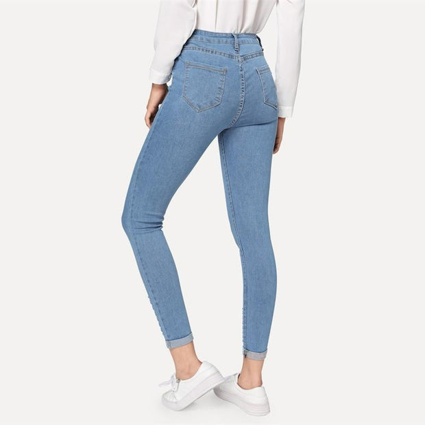 HIT THE FREEWAY Roll-Up Skinny Jeans - OutFancy