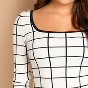 LET EM STARE Plaid Scoop Neck Grid Top - OutFancy