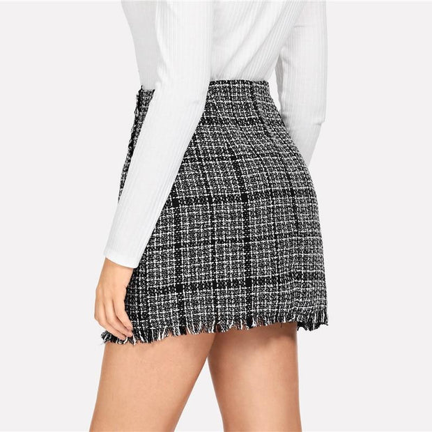 LET THEM KNOW Plaid Tweed Skirt - OutFancy