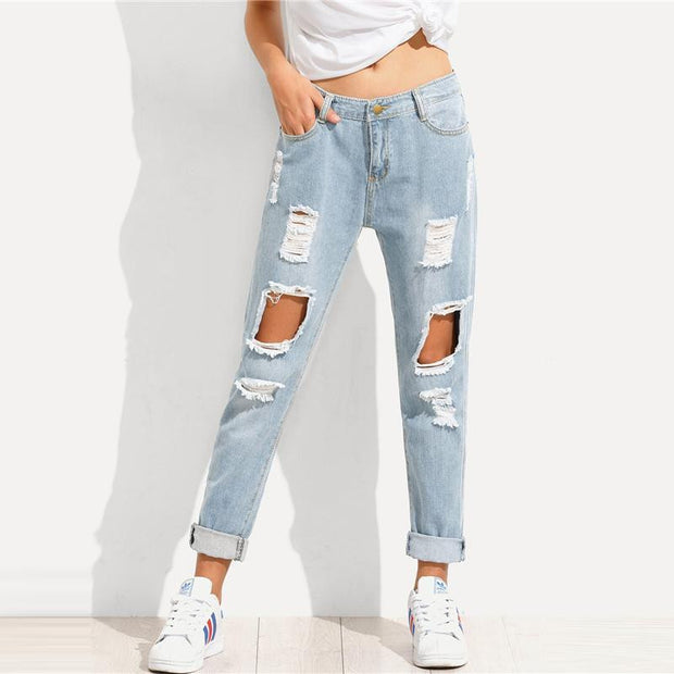 JUST KISS ME Boyfriend Jeans - OutFancy