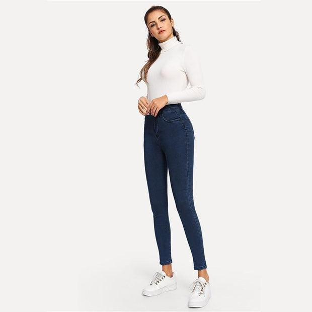 WIFEY HIGH RISE Navy Jeans - OutFancy