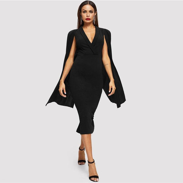Surplice Collar Split Hem Bodycon Dress - OutFancy