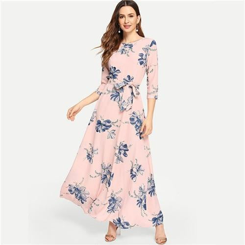 BEL AIR Floral Pink Elegant Maxi Dress - OutFancy